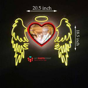 Neon Heart Angel Wings Photo Led Neon Sign Decorative Lights Wall Decor
