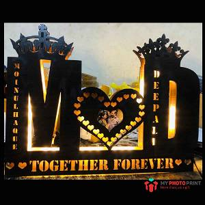 Customized Couple Photo Alphabetic A TO Z Wooden Name Board Multicolor Led and Remote #1722