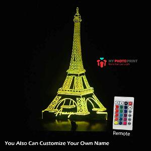 Personalized Eiffel Tower Acrylic 3D illusion LED Lamp with Color Changing Led and Remote #1727