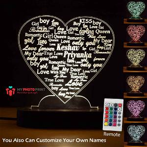 Personalized Couple Heart Acrylic Led Night Lamp with Color Changing Led and Remote #1728