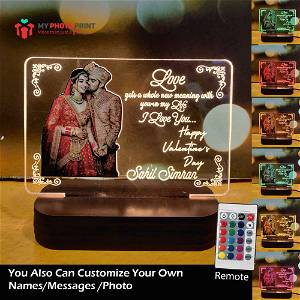 Valentine Special Photo Acrylic Led Night Lamp with Color Changing Led and Remote #1729