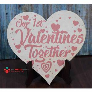First Valentine Together Wooden Table Top 1