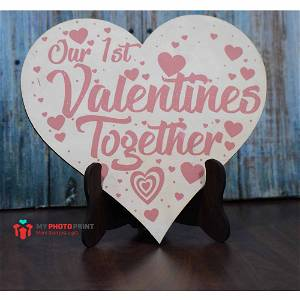 First Valentine Together Wooden Table Top