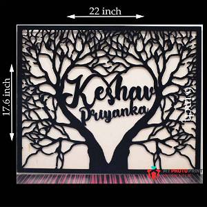 Personalized Love Tree With Name Wooden Wall Decoration