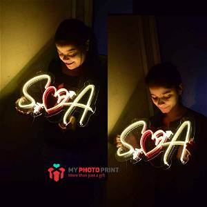 Personalized Heart Arrow Couple Led Neon Sign Decorative Lights Wall Decor