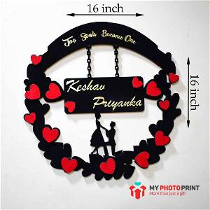 Personalized Couple With Heart Wall Hanging With Your Name Wooden Frame #1767