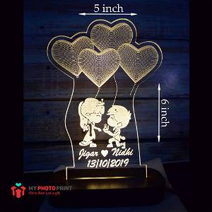 Personalized Cute Couple Proposal Acrylic 3D illusion LED Lamp with Color Changing Led and Remote #1768