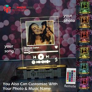 Personalized Music Plaque Acrylic 3D illusion LED Lamp with Color Changing Led and Remote #1771