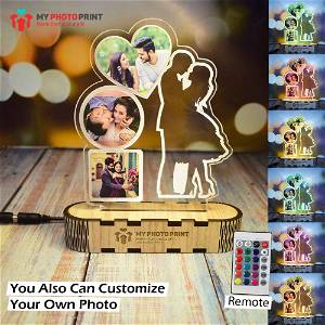 Personalized Love Couple Lamp With Your Photos Acrylic 3D illusion LED Lamp with Color Changing Led and Remote #1772