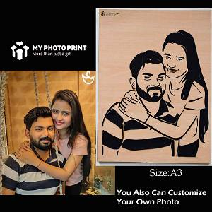 Personalized Couple 3D Portrait Wooden Frame