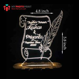 Personalized Love Letter Acrylic 3D illusion LED Lamp with Color Changing Led and Remote#1778