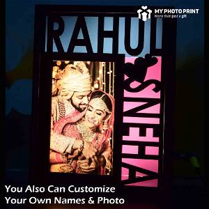 Personalized Couple Photo Wooden Name Board