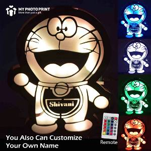 Customized Multicolor Doraemon Name board With Led and Remote #1805