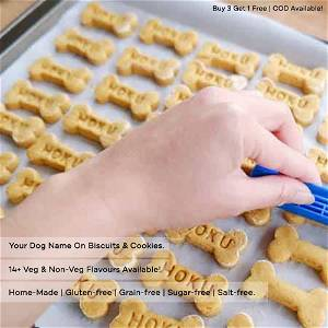 Home Made Chicken + Pumpkin + Egg + Honey Dog Cookies Treat With Your Dog Name On It 500 Grams
