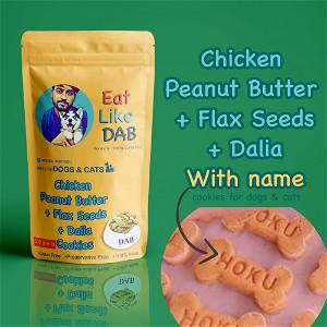 Home Made Chicken + Peanut Butter + Flax Seeds+ Dalia Dog Cookies Treat With Your Dog Name On It 500 Grams