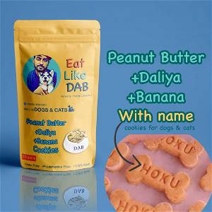 Home Made Peanut Butter+Daliya+Banana Dog Cookies/Treat With Your Dog Name On It