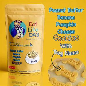 Home Made Peanut Butter+Banana+Pumpkin+Cheese Dog Cookies/Treat With Your Dog Name On It 500 Grams