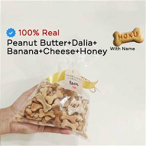 Home Made Peanut Butter+Dalia+Banana+Cheese+Honey Dog Cookies/Treat With Your Dog Name On It 500 Grams