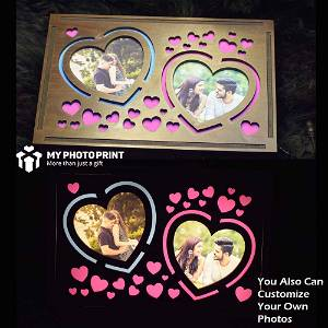 Customized Heart Photo Photo Wooden Table Top Night lamp for Couples Boyfriend Girlfriend