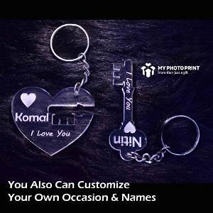 Personalized Couple Heart Key Name Acrylic Keychain