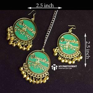 Customized Set Of Jhumka & Mangtika Jewellery