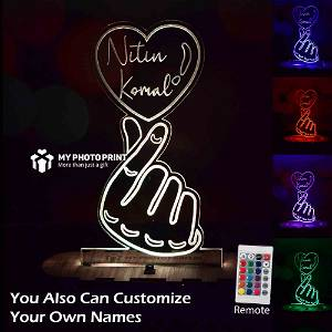 Personalized Couple Hand & Heart Acrylic 3D illusion LED Lamp with Color Changing Led and Remote#1829