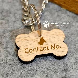 Wooden Engraved Bone Shaped Pet Tag