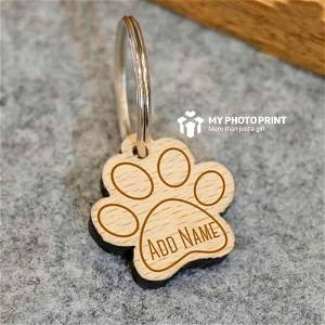 Wooden Engraved Paw Shaped Pet Tag