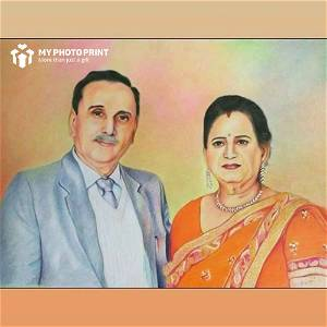 Customized Couple Handmade Photo Sketch 3D Portrait Wooden Frame
