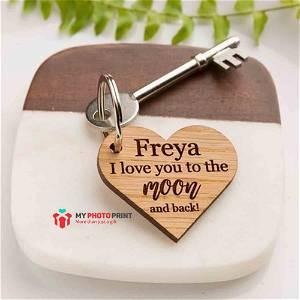 Customized Heart Wooden Text Keychain