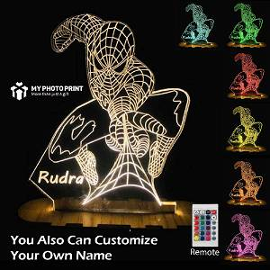 Personalized Spider-Man  Acrylic 3D illusion LED Lamp with Color Changing Led and Remote#1848