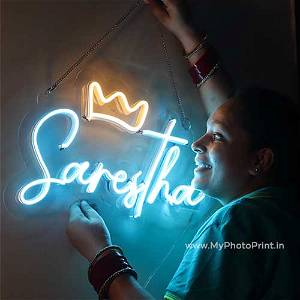 Custom Name With Crown Led Neon Sign Decorative Lights Wall Decor   Size Approx 12 inch X 18 inch According to Name