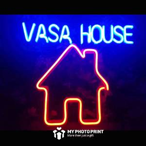 Custom Name House Led Neon Sign Decorative Lights Wall Decor | Size Approx 19 inch X 20 inch According to Name