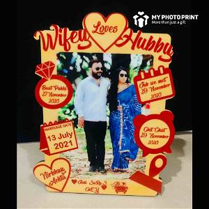 Customized Love Story Photo Frame Wooden Table Top