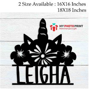 Customized Unicorn Flower Crown Name  Wooden Wall Decoration