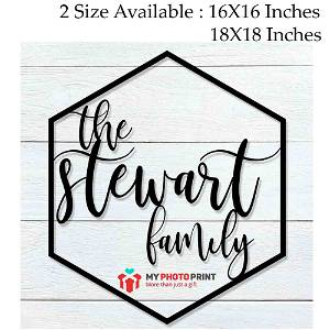Customized Hexagon Family Name Wooden Wall Decoration