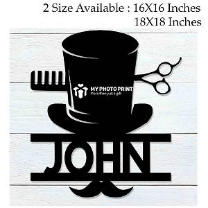 Customized Barber Name Wooden Wall Decoration