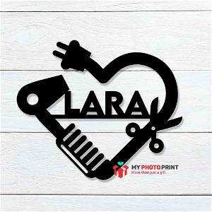 Customized Hairdresser Heart Name Wooden Wall Decoration