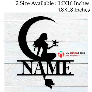 Customized Moonlight Mermaid Name Wooden Wall Decoration