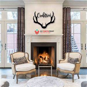 Customized Deer Antler Name Wooden Wall Decoration