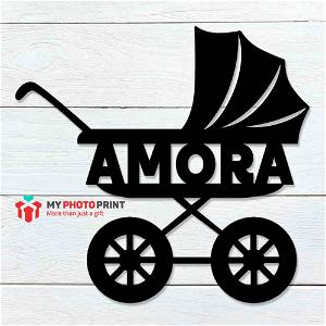 Customized Baby Stroller Name Wooden Wall Decoration