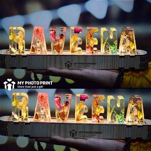 Personalized Custom Letter Crystal Lamp Dried Flower Resin Crystal Lamp Eternal Flower Letter Lamp Decoration