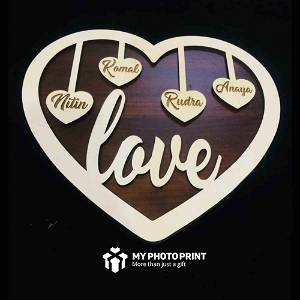 Customized Heart Love Family Wooden Wall Hanging #1940