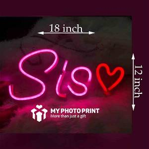 Neon Sis With Heart Led Neon Sign Decorative Lights Wall Decor