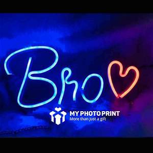 Neon Bro With Heart Led Neon Sign Decorative Lights Wall Decor