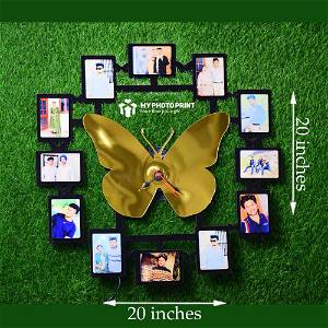 Personalized Wall Clock Butterfly Wooden Photo Clock with 12 Photos