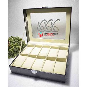Wooden Watch Box With 10 Compartments