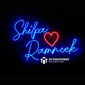 Personalized Couple Name With Heart Led Neon Sign Decorative Lights Wall Decor