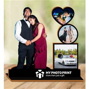 Personalized Couple Unique With 4 Photos Wooden Table Top