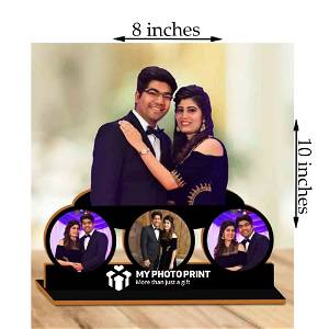 Personalized Best Couple With 4 Photos Wooden Table Top